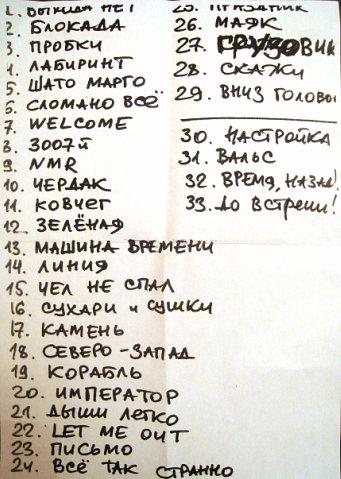 Треклист концерта Сплин в ГлавClub, 02.04.2010